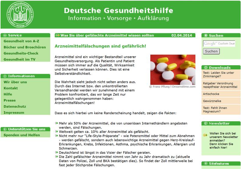 Screenshot Arzneimittelfälschungen